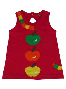 This lovely, bright little red dress makes any girl stand out in a crowd! It features a cute, hungry multi-coloured caterpillar and apples.This design comes with a fun, easy-to-open snap fastener in the back. Hand-made, 100% cotton and machine-washable. Available sizes: 3 months - 5 years.