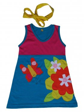 Cheerful, comfy dress with a butterfly and flower pattern. Features easy-to-open straps and comes with a bright, yellow scarf that can also be used as a hair band. Hand-made and 100% cotton. Available sizes: 3 months - 5 years.