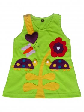 Playful and comfy dress featuring cute turtles with bobbing heads. Comes with an easy-to-open snap fastener strap adorned with a fun, stuffed heart. Hand-made, 100% cotton and machine-washable. Available in sizes 3 months - 5 years.