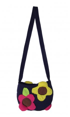 Elegant, multi-coloured flower bag with a zipper. 100% cotton and machine-washable. Available in Purple and Orange. Dimensions: 19 cm (W) x 14 cm (L) x 1 cm (D).