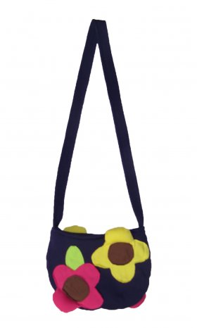 Fun, multi-coloured flower bag with a zipper. 100% cotton and machine-washable. Available in Purple and Orange. Dimensions: 19 cm (W) x 14 cm (L) x 1 cm (D).